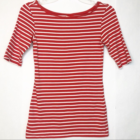 Nordstrom Tops - 14th & Union Red Striped Elbow Sleeve Top Sz Small
